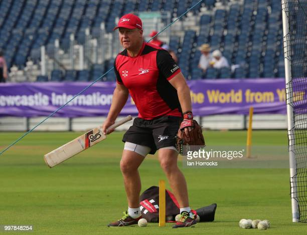 Durham head coach John Lewis warms up the players during the Vitality Blast match between Durham Jets and Yorkshire Vikings at the Emirates Riverside...