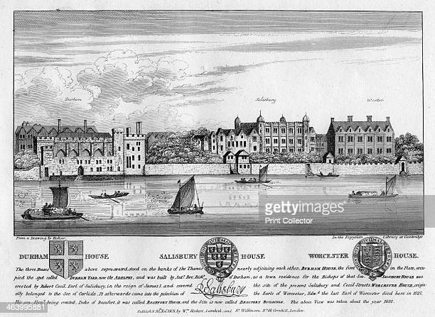 Durham House Salisbury House and Worcester House London c1630 View showing three houses that used to stand on the Strand backing onto the Thames...
