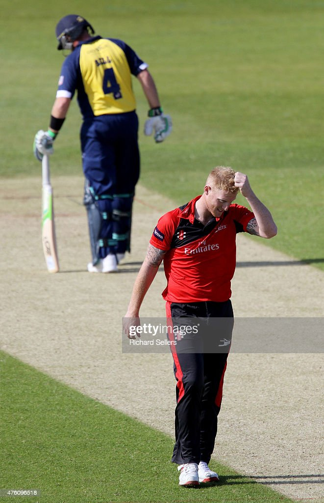 Durham Jets Ben Stokes reacts during the NatWest T20 Blast between Durham Jets and Birmingham Bears at Emirates Durham ICG, on June 06, 2015 in Chester-le-Street, England.