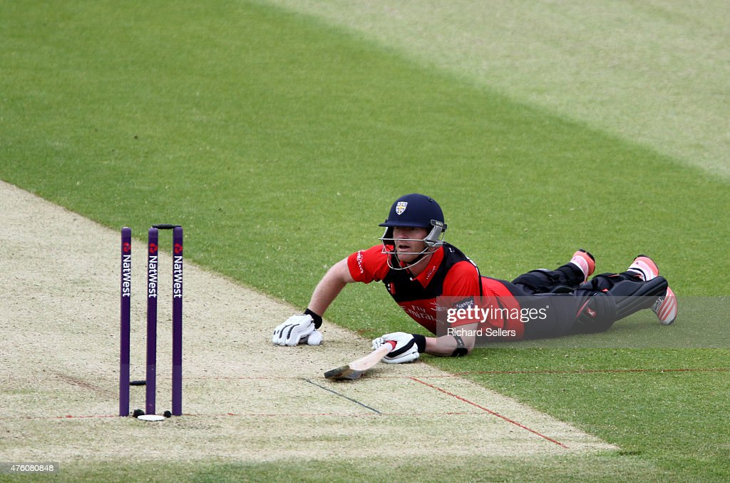Durham Jets Paul Collingwood run out during the NatWest T20 Blast between Durham Jets and Birmingham Bears at Emirates Durham ICG, on June 06, 2015 in Chester-le-Street, England.