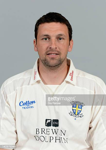 Durham player Stephen Harmison poses for his portrait during the Durham CCC photocall at The Riverside on April 3 2012 in ChesterleStreet England