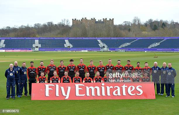 Durham players and coaching staff poses for the official team photograph in their T20 uniforms during the Durham County Cricket Club photocall at the...