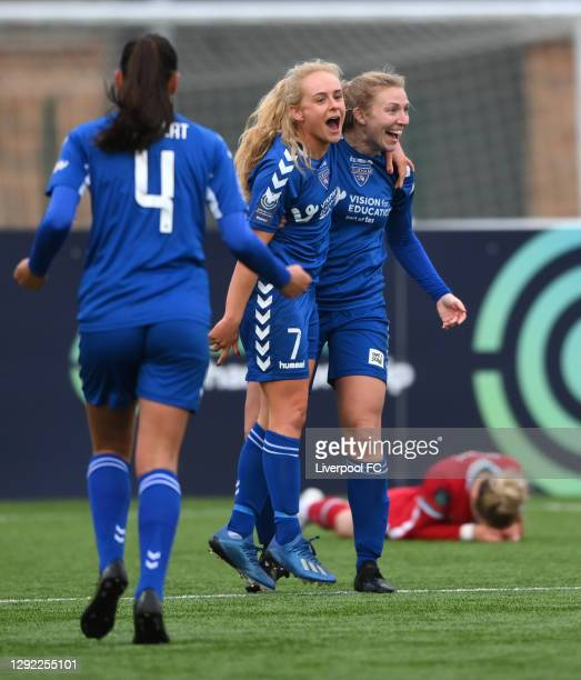 Durham players Beth Hepple and Emily Roberts celebrate the second Durham goal during their 2-0 victory during the Barclays FA Women's Championship...