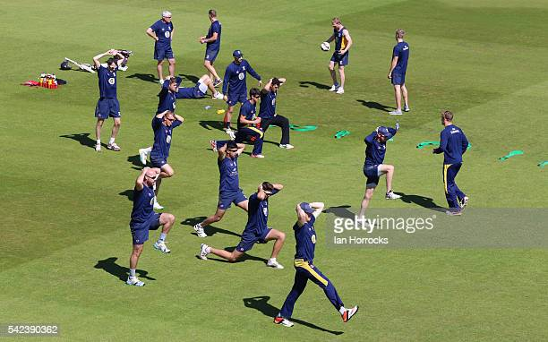 Durham players warm up during day four of the Specsavers County Championship Division One match between Durham and Yorkshire at Emirates Durham ICG...