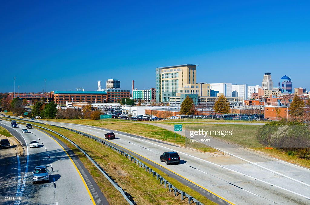 Durham skyline and highway : Stock Photo