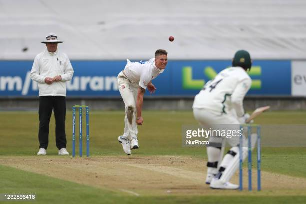 Durham's Brydon Carse bowling during the LV= County Championship match between Durham County Cricket Club and Worcestershire at Emirates Riverside,...