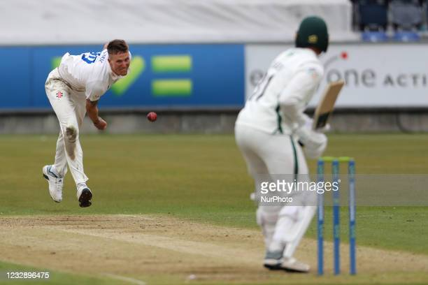 Durham's Brydon Carse bowling to Worcesterhire's Charlie Morris during the LV= County Championship match between Durham County Cricket Club and...