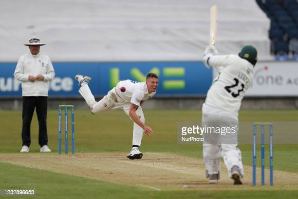 Durham's Brydon Carse bowling to Worcesterhire's Joe Leech during the LV= County Championship match between Durham County Cricket Club and...