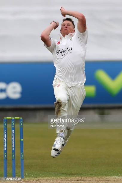 Durham's Brydon Carse bowling Worcesterhire's during the LV= County Championship match between Durham County Cricket Club and Worcestershire at...