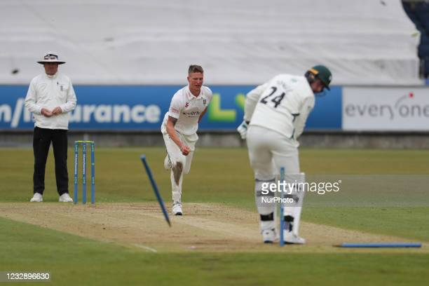 Durham's Brydon Carse bowls Worcestershire's Josh Tongue during the LV= County Championship match between Durham County Cricket Club and...