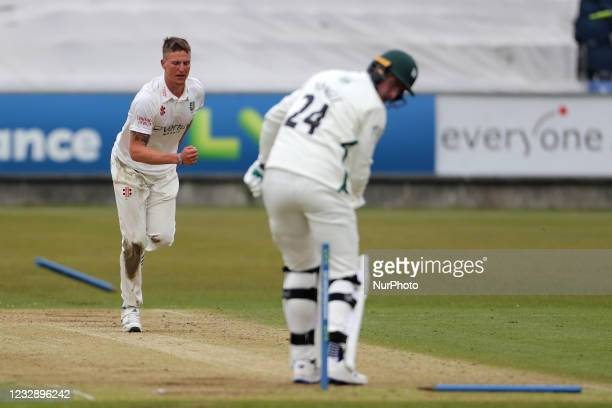 Durham's Brydon Carse clean bowls Worcesterhire's Josh Tongue during the LV= County Championship match between Durham County Cricket Club and...