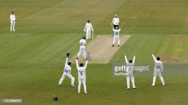 Durham's Chris Rushworth appeals for an LBW against Worcestershire's Daryl Mitchell during the LV= County Championship match between Durham County...