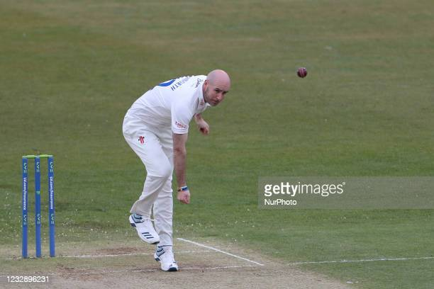 Durham's Chris Rushworth bowling during the LV= County Championship match between Durham County Cricket Club and Worcestershire at Emirates...