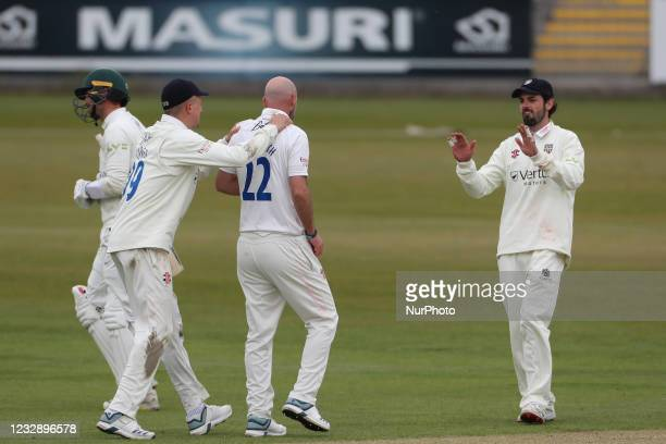Durham's Chris Rushworth celebrates after claiming the wicket of Worcestershire's Ed Barnard during the LV= County Championship match between Durham...