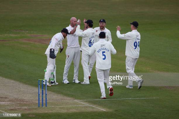Durham's Chris Rushworth celebrates after trapping Worcestershire's Daryl Mitchell LBW during the LV= County Championship match between Durham County...