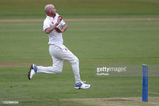 Durham's Chris Rushworth during the LV= County Championship match between Durham County Cricket Club and Worcestershire at Emirates Riverside,...