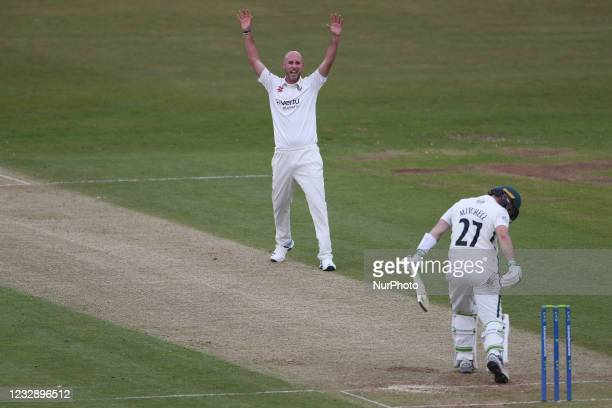 Durham's Chris Rushworth traps Worcestershire's Daryl Mitchell LBW during the LV= County Championship match between Durham County Cricket Club and...