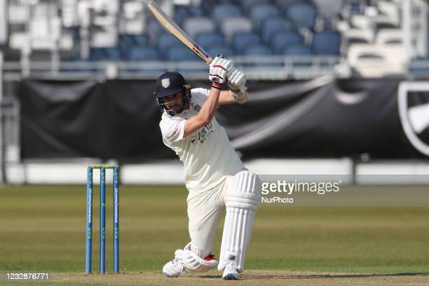 Durham's Mark Wood batting during the LV= County Championship match between Durham County Cricket Club and Worcestershire at Emirates Riverside,...