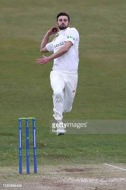 Durham's Mark Wood bowling during the LV= County Championship match between Durham County Cricket Club and Worcestershire at Emirates Riverside,...