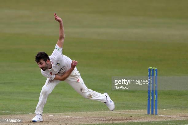 Durham's Mark Wood during the LV= County Championship match between Durham County Cricket Club and Worcestershire at Emirates Riverside, Chester le...