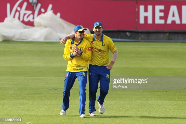 Durham's Peter Handscomb and Alex Lees celebrate after Hanscomb ran out Leicester Foxes' Harry Swindells during the Vitality T20 Blast match between...