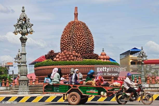 durian roundabout in central kampot town - durian stock pictures, royalty-free photos & images