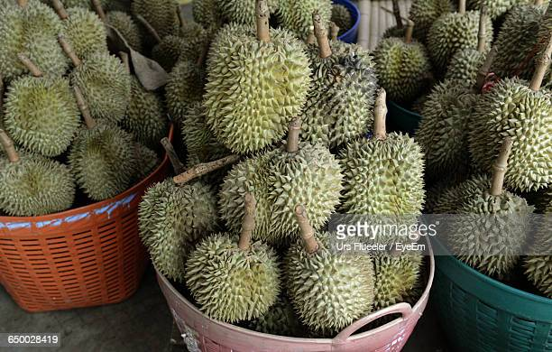 Durians In Baskets For Sale At Street Market
