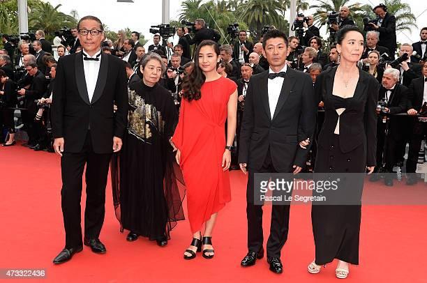 Durien Sukegawa Kirin Kiki Kyara Uchida Masatoshi Nagase and Naomi Kawase attend Premiere of An during the 68th annual Cannes Film Festival on May 14...