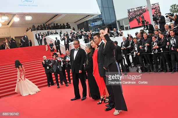 Durien SukegawaKirin KikiKyara UchidaMasatoshi Nagase and Naomi Kawase attend the AN Premiere during the 68th Cannes Film Festival