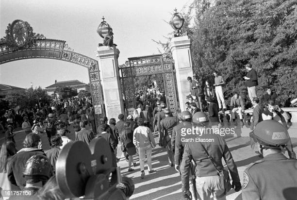 During a Black Panther demonstration, California Highway Patrol officers arrive to keep order on the University of California, Berekely campus,...