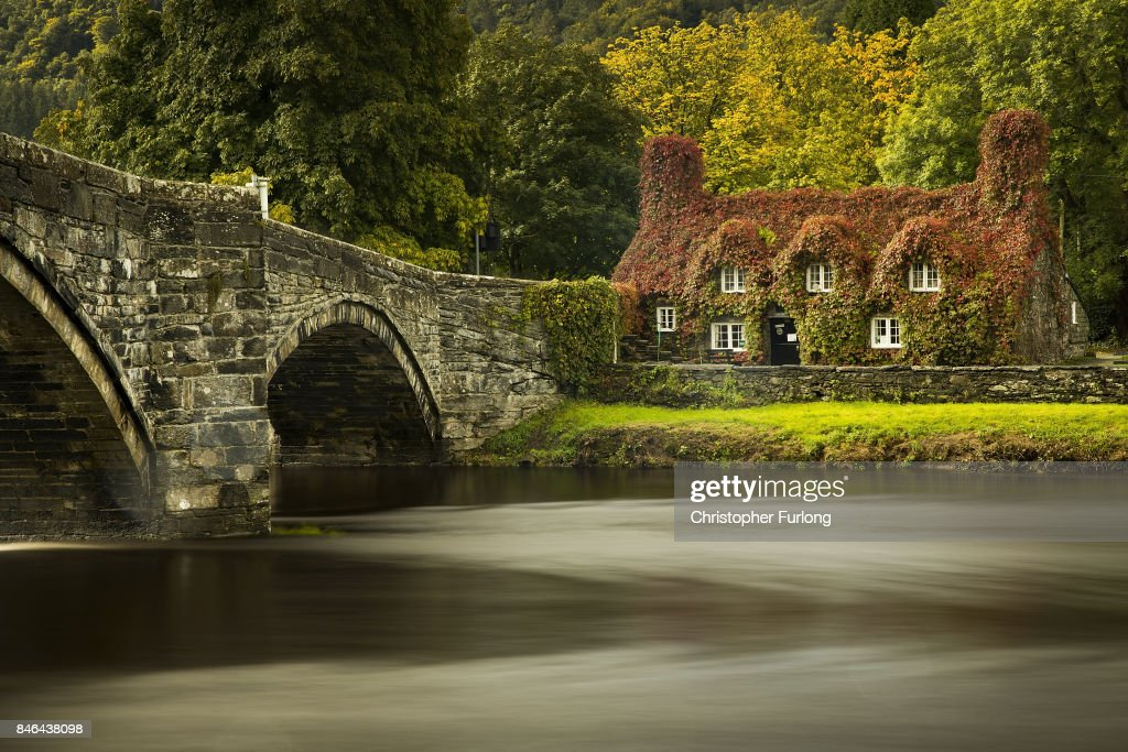 During a break from the rain of Storm Aileen, the leaves of the Virginia creeper begin to take on their Autumn colour at the Tu Hwnt i'r Bont tea room on the banks of the River Conwy at Llanrwst in north Wales on September 13, 2017 in Llandudno, Wales. The cottage named Tu Hwnt i'r Bont (Beyond the Bridge) was built in 1480 and has become a magnet for phtographers and tourists from across the world during Autumn.