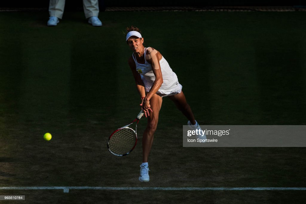 during a day five match of the 2018 Wimbledon Championships on July 6, 2018, at All England Lawn Tennis and Croquet Club in London, England.