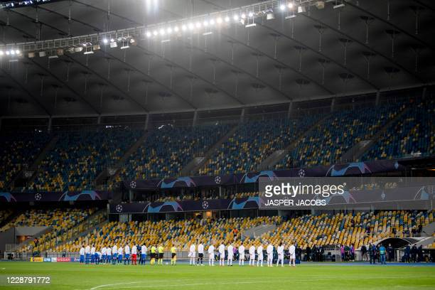 during a game between Ukrainian club Dynamo Kyiv and Belgian soccer club KAA Gent Tuesday 29 September 2020 in Kyiv Ukraine the return leg of the...
