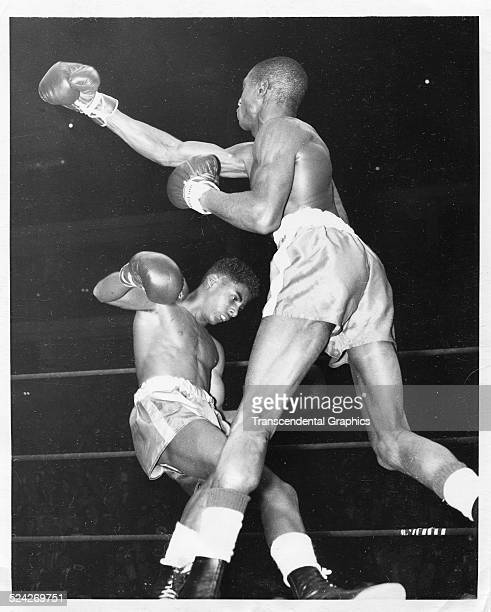 During a Golden Gloves bout Henry White knocks out Wilbur McClure Chicago Illinois March 15 1954