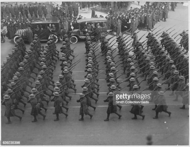 During a large parade honoring the return of the brave and heroic African American troops of the 369th Infantry the old 15th of New York City men...