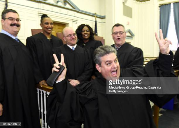 During a lighter moment, retiring Magisterial Judge Victor Frederick IV has a little fun in front of the new Magisterial District Judges sworn-in to...