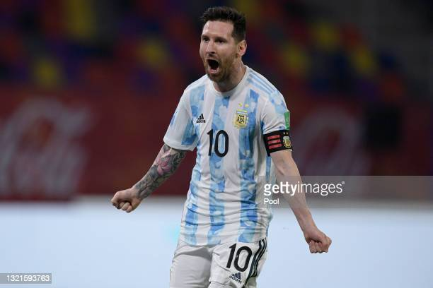 During a match between Argentina and Chile as part of South American Qualifiers for Qatar 2022 at Estadio Unico Madre de Ciudades on June 03, 2021 in...