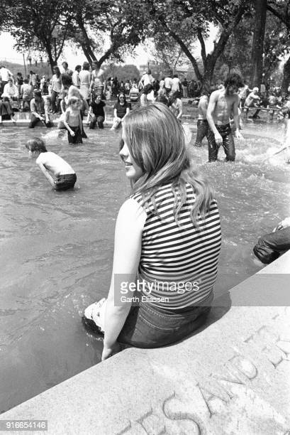During a nationwide student strike , a demonstrator cools off in the pool at the Boy Scout Memorial in the Ellipse, Washington DC, May 9, 1970.