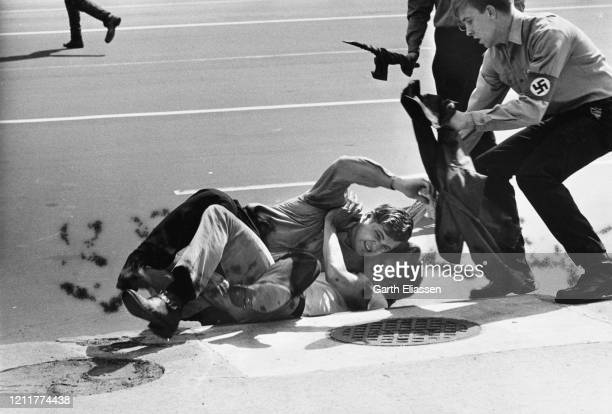 During a nationwide student strike , neo-Nazi counter-protestors fight with demonstrators on Pennsylvania Avenue, Washington DC, US, 9th May 1970.