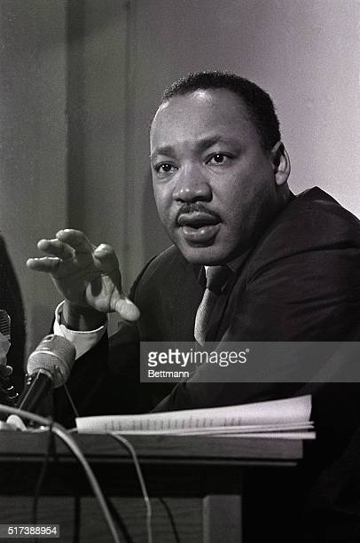 During a news conference, Dr. Martin Luther King, Jr. States that he will lead a civil rights march to the Georgia State Capitol on January 14, 1966...