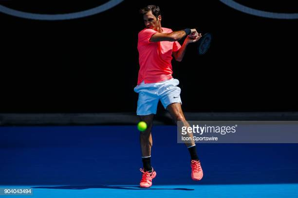 during a practice session on January 11 2018 leading up to the 2018 Australian Open at Melbourne Park Tennis Centre Melbourne Australia