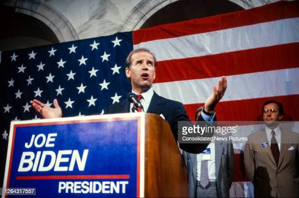 During a press conference, American politician US Senator Joseph Biden announces his intention to run for the Democratic Party nomination's for...