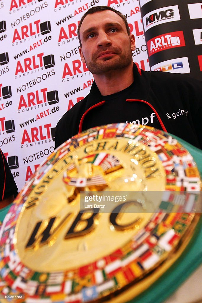 during a press conference at Stadtgarten Steele on May 24, 2010 in Essen, Germany. The WBC Heavyweight World Championship fight between Vitali Klitschko of Ukraine and Albert Sosnowski of Poland will take place at the Veltins Arena on May 29, 2010 in Gelsenkirchen, Germany.
