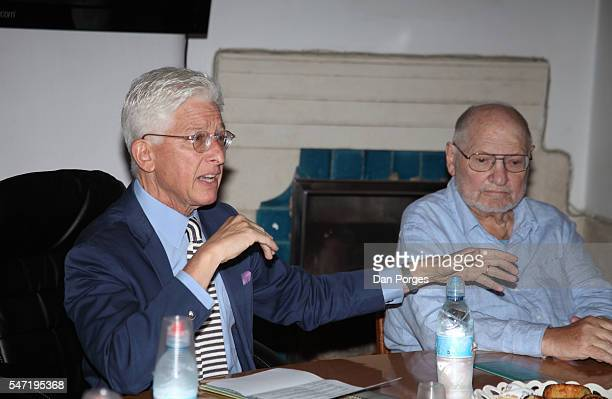 During a press conference at the Rockefeller Museum, Anne and Jerome Fisher Director of the Israel Museum James S Snyder and Dorot Professor of the...