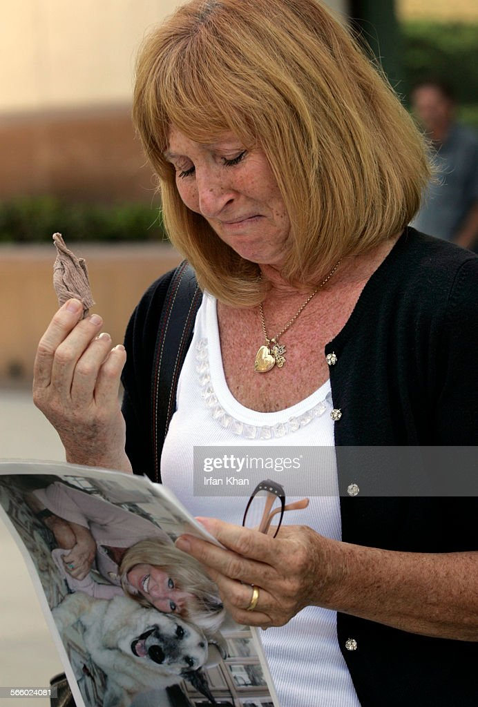During a press conference held in Riverside on September 02, 2008, Mary Michael (Cq) holds back her : News Photo