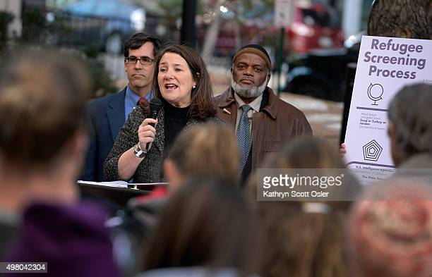 During a press event at Sakura Square in downtown Denver US Rep Diana DeGette center speaks out in support of Gov Hickenlooper and other officials...