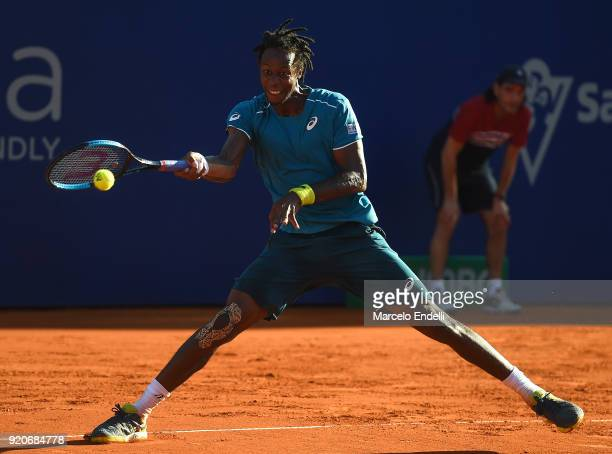 during a semifinal match against Dominic Thiem of Austria as part of ATP Argentina Open at Buenos Aires Lawn Tennis Club on February 17 2018 in...