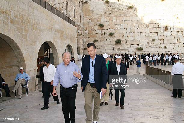 During a sightseeing tour of the Old City of Jerusalem former Governor of the Bank of Israel Professor Jacob Frenkel speaks with Vice Chairman of...