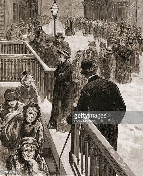 During a snowstorm a line of people look for shelter a police station on Oak Street New York New York circa 1888