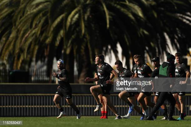 During a South Sydney Rabbitohs NRL training session at Redfern Oval on May 30, 2019 in Sydney, Australia.